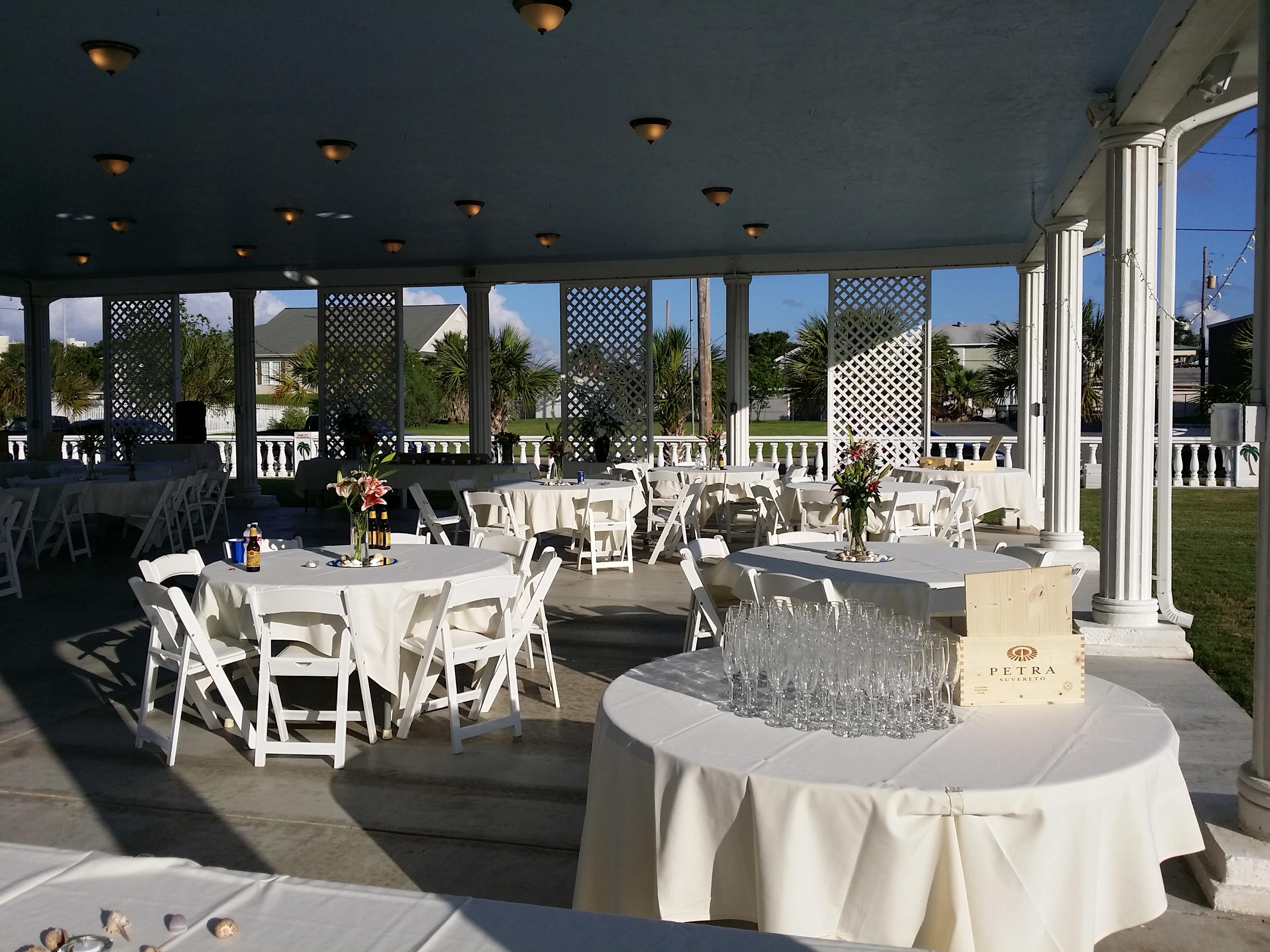 Outdoor Reception Venue Galveston Island Palms White Garden Chair Set Up
